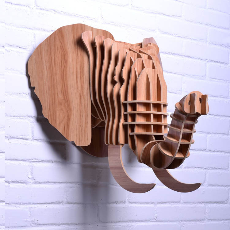 Buy elephant head for wall hanging wood for Decoration murale elephant