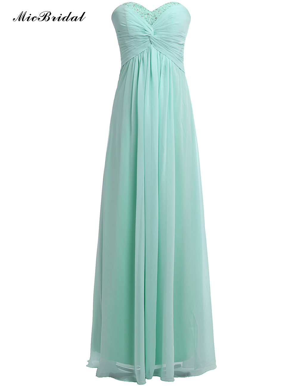 Micbridal mint green pleated chiffon long dresses for for Wedding guest long dresses