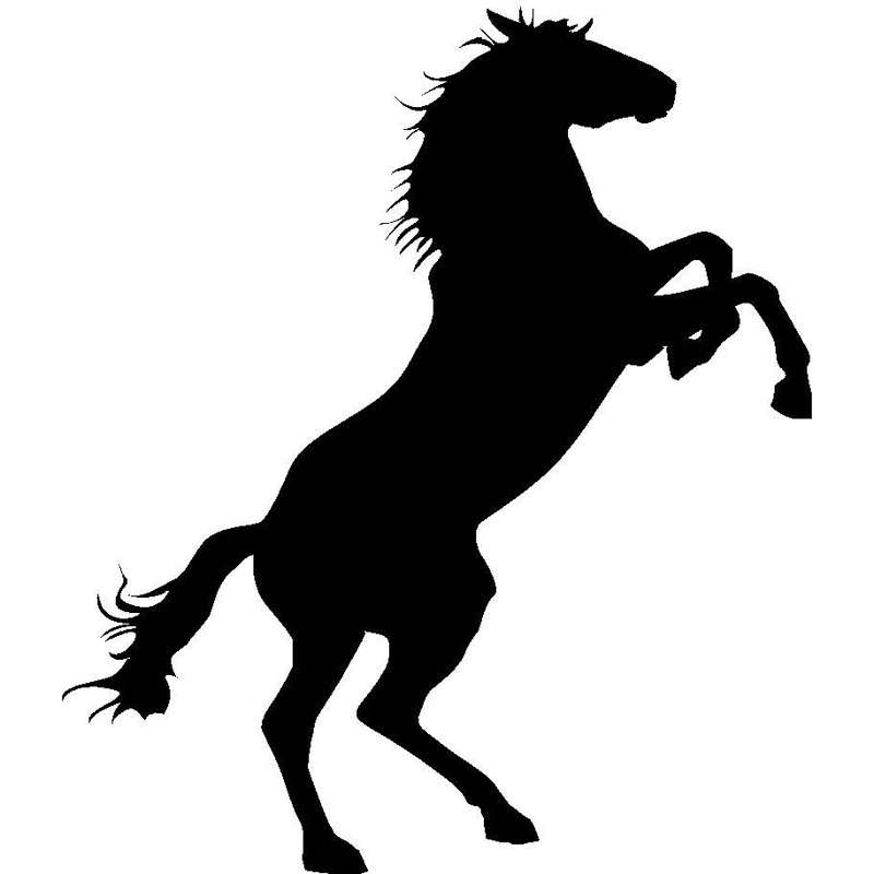 15.2*17.6CM Stand Horse Animal Car Decorative Stickers Fashion Cover Scratches Car Accessories Silver/Black C4-0294(China (Mainland))