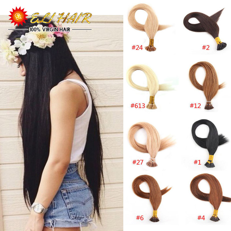 "18""20""22""24'' Keratin ITip Hair Extension 100% Virgin Brazilian Prebonded Human Hair Black,Brown,Blond I Tip Hair(China (Mainland))"