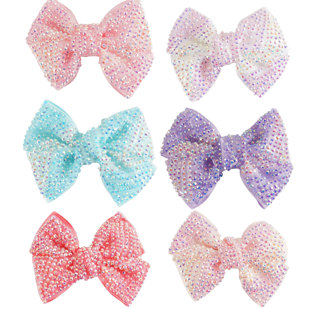 "12 Pcs/lot 4"" New Fashion Handmade Bling Rhinestone Hair Bow For Baby Girls Kids Hair Accessories With Clip Headwear(China (Mainland))"