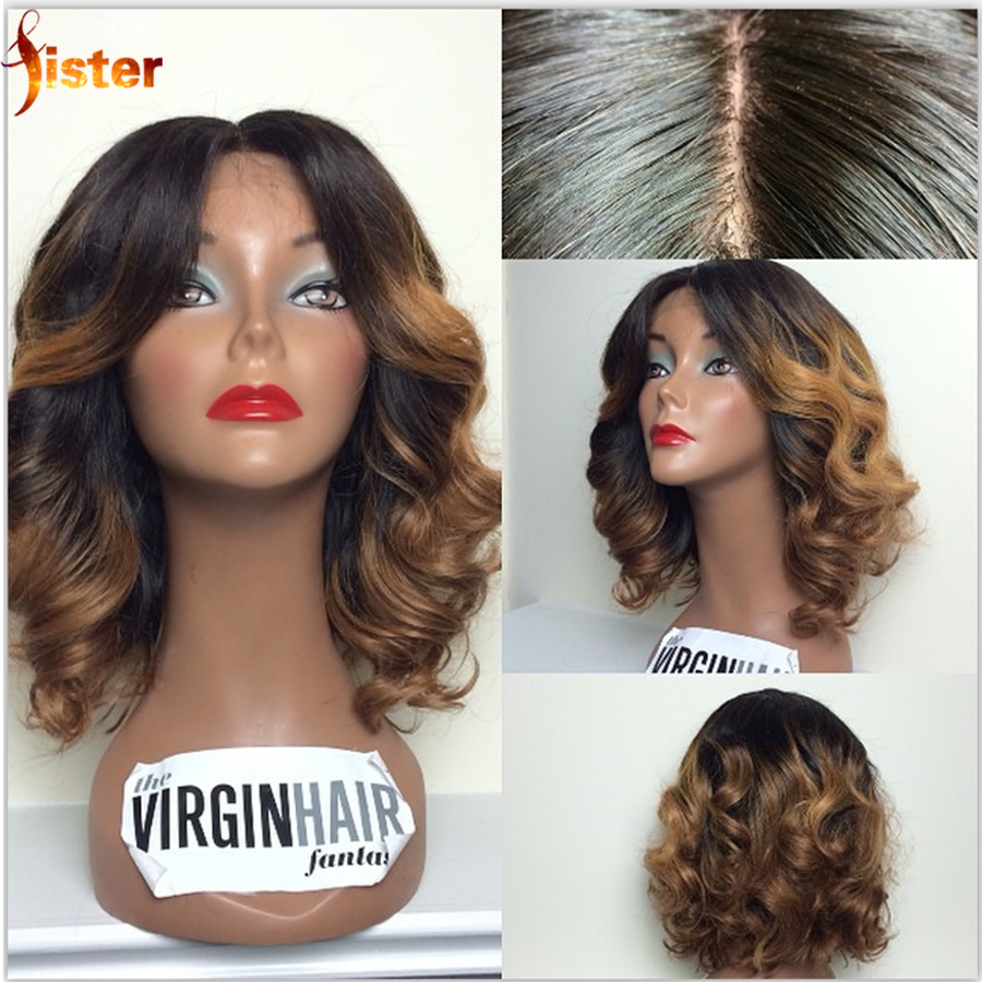 Glueless Full Lace Human Hair Ombre Wigs Virgin Brazilian Hair Ombre Lace Front Wig Two Tone/Ombre Human Hair Full Lace Wigs