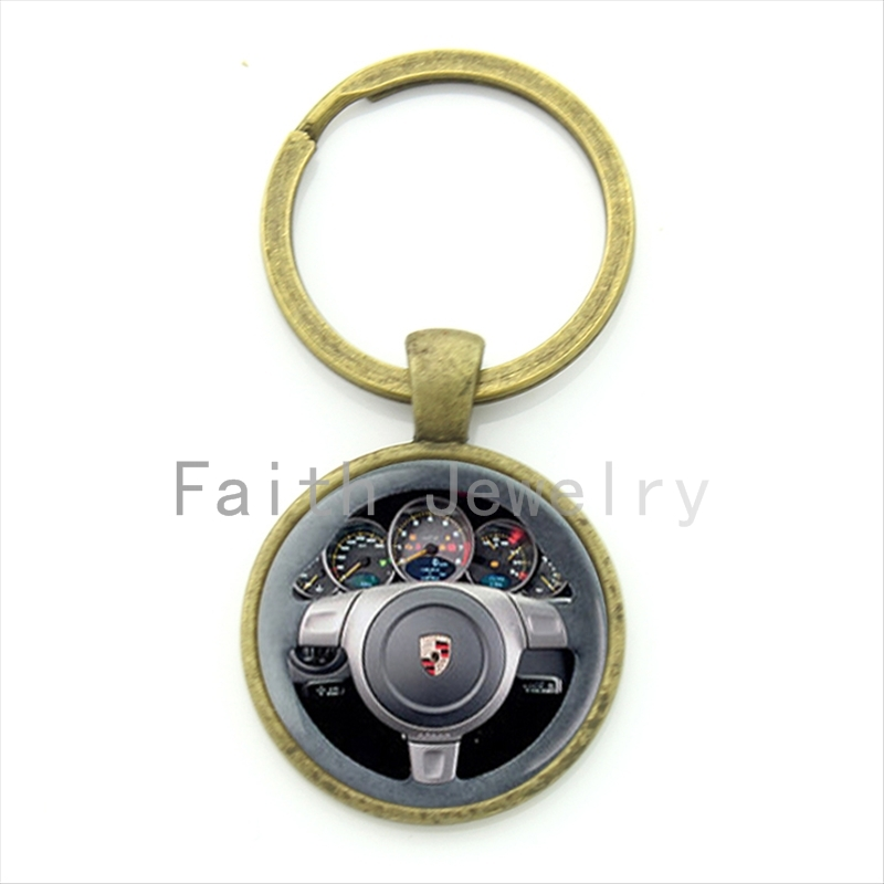 Vintage style luxury cars steering wheel key chain geeky perfect gift creative car jewelry drivers favorite keychain gift KC185(China (Mainland))