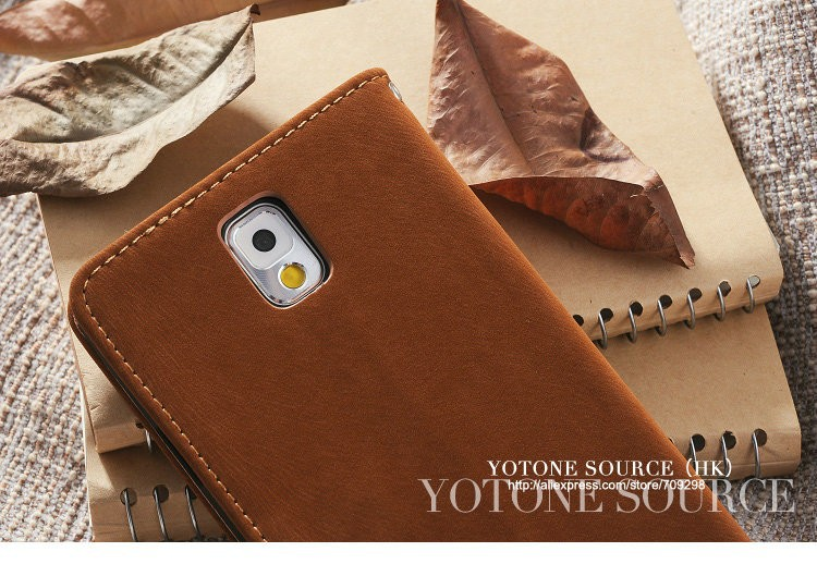 Soft Fashion Wallet Stand Leather Case for Samsung Galaxy Note 3 IIl N9000 Mobile Phone Bag Cover with Card holder Brown Black
