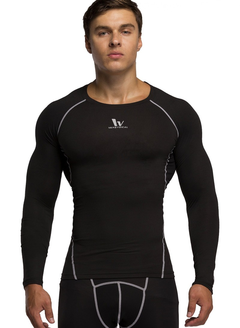 Red Plume Men's Pure Black Color Sports Tights T-Shirt Fitness Compression long Sleeve Shirt(China (Mainland))
