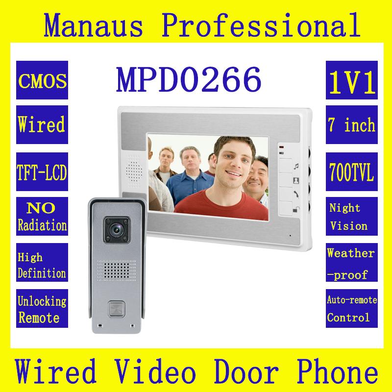 7-дюймовый цветной дисплей видео-Телефон двери дверной звонок домофон система 1х1 1-камера 1-монитор ночного видения видео домофон D266b