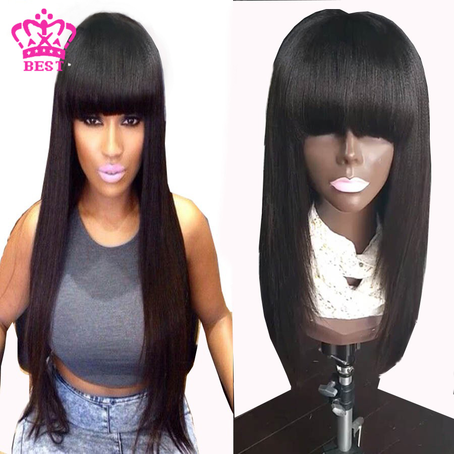 Фотография 130 Density Yaki Straight Full Lace Wig 7a Brazilian Human Hair Full Lace Wig With Bang For Black Woman Glueless Lace Front Wigs