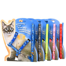 Hot 1 Set On Sale New polyester Pet Cat Dog Doggie Puppy patterned Leash Leads Harness Belt Traction Rope PG37(China (Mainland))