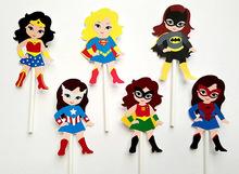 Girl Superhero Cupcake Toppers Birthday Party Decorations Party Supplies Birthday Party Decorations Kids(China (Mainland))