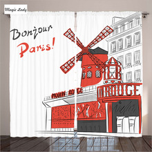 Buy Curtains Red Grey White Home Decor Collection Paris Cabaret Moulin Rouge Modern City Living Room Bed Curtains Red Grey White Pa for $59.50 in AliExpress store