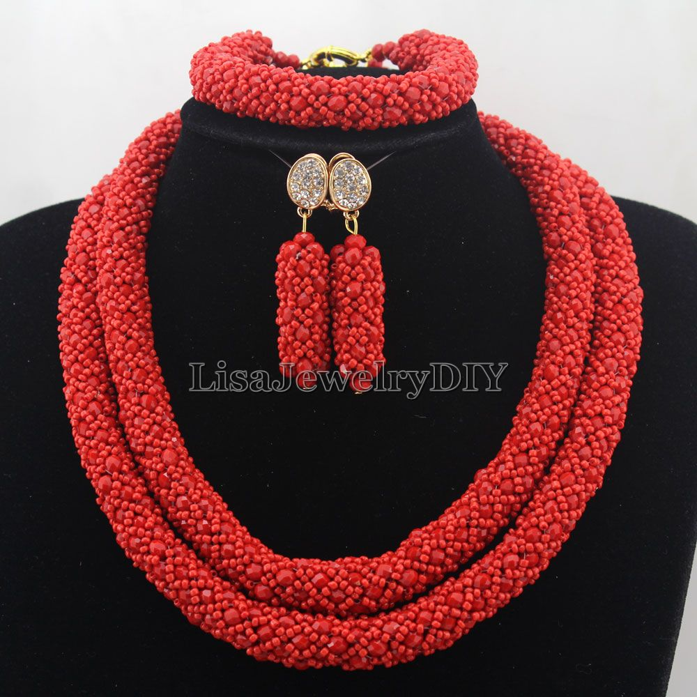 Здесь можно купить  African Jewelry Sets Nigerian Beads Wedding Jewelry Set Bridal Statement Jewelry Set Womens Jewellery Set HD7411  Ювелирные изделия и часы