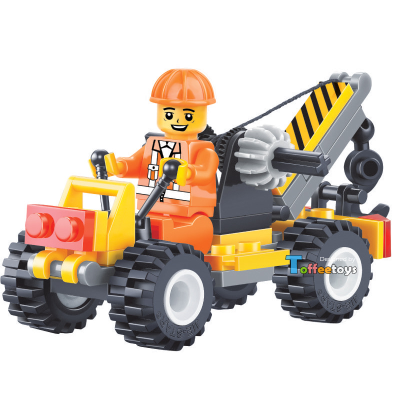 1pc Small Crane City Constuction Team LEGOelieds Engineer Car DIY Model Minifigures Building Blocks Bricks Toy Gift Boy(China (Mainland))