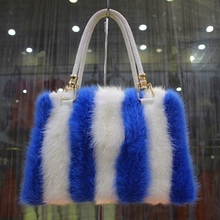 Fresh Fashion Bags Mixture stripe three colors Genuine mink Fur Leather Women Design shoulder Handbag(China (Mainland))