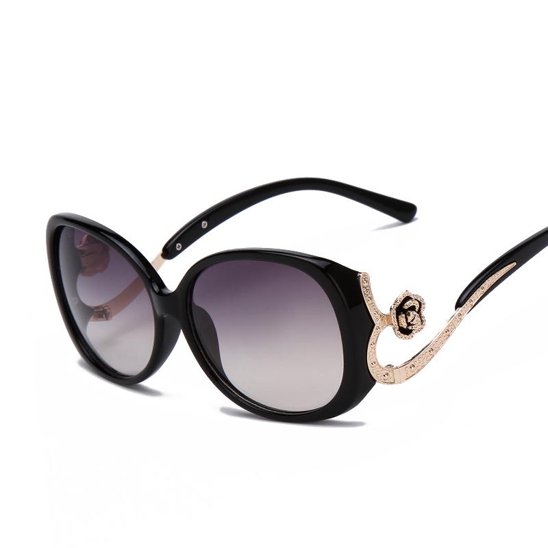 Luxury Ladie Fashion Oval Sunglasses Women Oversized Frame Metal Flower Crystal Decoration Brand Designer Glasses UV 400 Eyewear(China (Mainland))