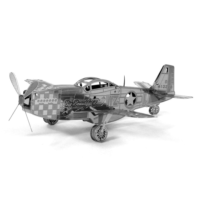 Ww2 P 51 Mustang Fighter Fun 3d Metal Diy Steel Scale Miniature Model Adults Hobby Creative Puzzle Toys Kits Kids Building(China (Mainland))