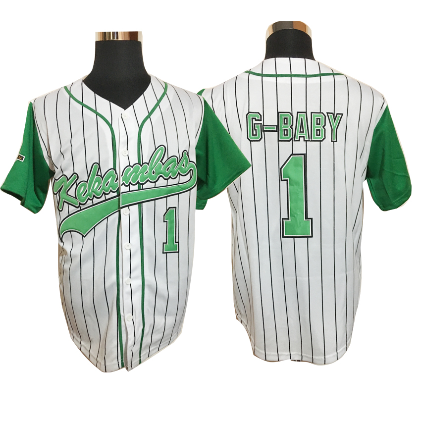 2017 Dwayne Mens Cheap Throwback Baseball Jerseys #1 Jarius G-Baby Evans Kekambas USA Movie Jerseys American Baseball Jerseys(China (Mainland))
