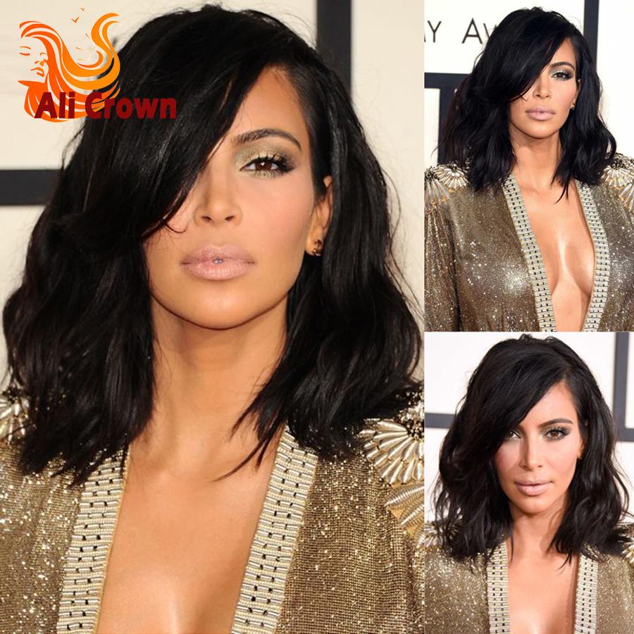 Kim Kardashian Bob Haircut Virgin Brazilian Hair Lace Front Wig short wavy full lace human hair wig for black women<br><br>Aliexpress