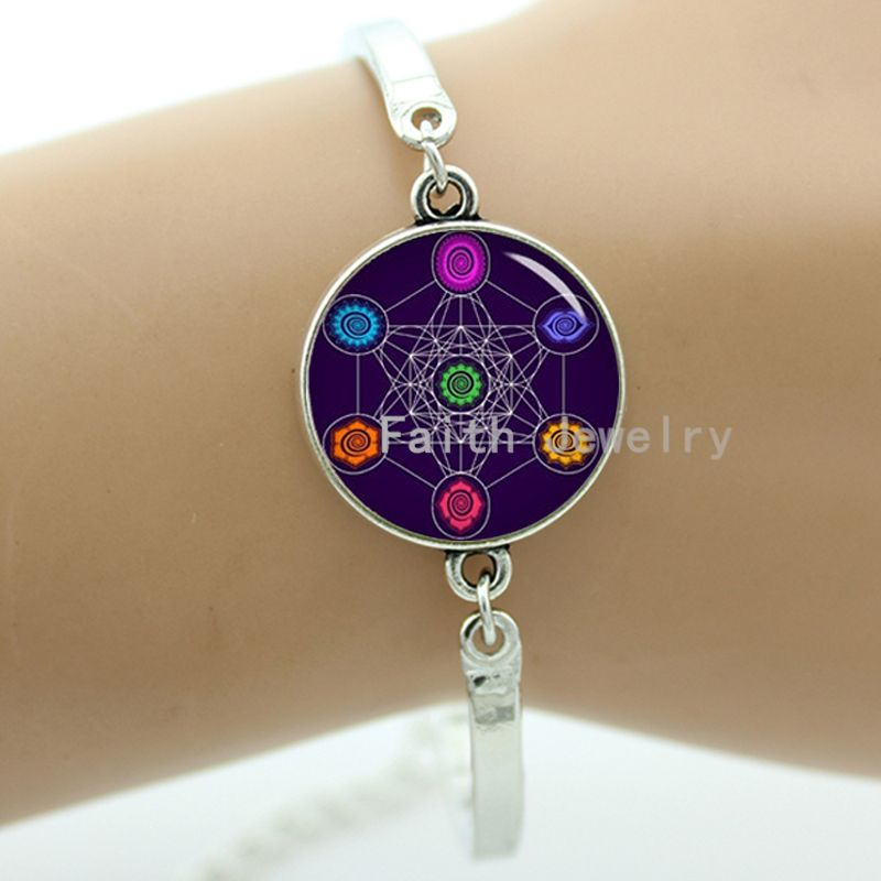 Metatron cube bracelet chakras cosmic energy centres mysterious purple background colorful cube pattern charm women jewelry 1245(China (Mainland))