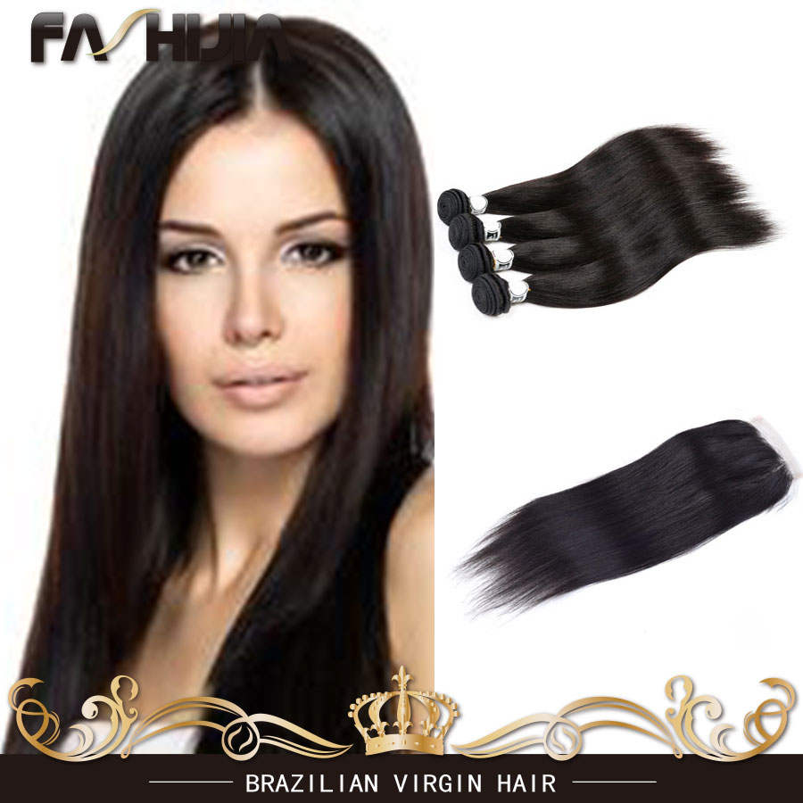 Brazilian virgin hair with closure,Human hair bundles with lace closure 4x4 Free Part Bleached Knots Brazilian straight hair<br><br>Aliexpress