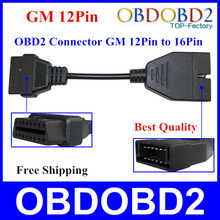 Top Quality For GM 12 Pin OBD/OBD2 Connector For GM 12PIN Adapter To 16pin For GM Cars With Three Years Warrtanty(China (Mainland))