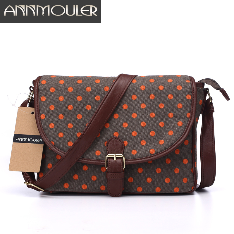 Annmouler Famous Brand Women Messenger Bag Canvas Small Zipper Bag Patchwork Polka Dots Printing Shoulder Crossbody Bag(China (Mainland))
