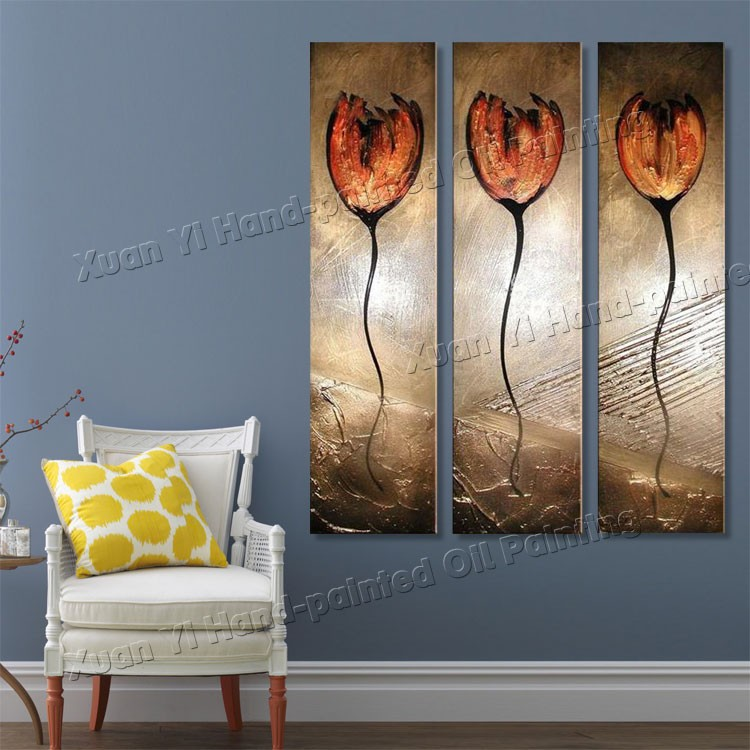 Buy 3 panel paintings Hand Painted Top Quality Oil Painting Modern Wall Art on Canvas The Elegant Flower Texture  Palette Knife cheap