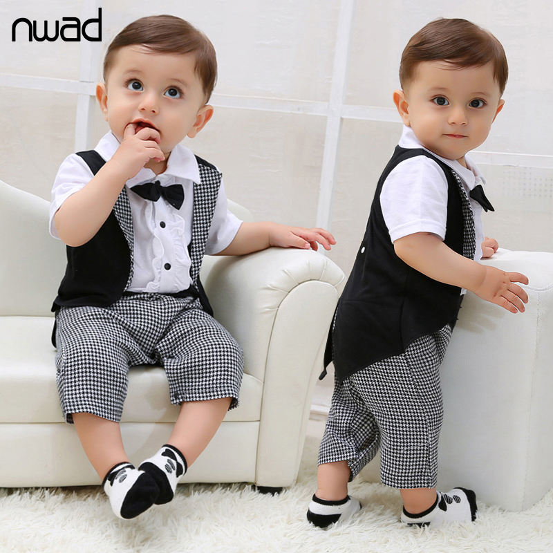 Baby Boy Tuxedos Romper 2016 New Summer Gentleman Plaid Clothing For Newborn Baby Kids Bow Short Sleeve Jumpsuits FF017(China (Mainland))