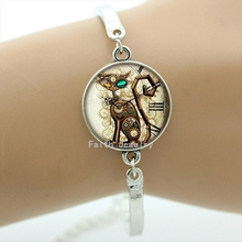 Fashion punk Cat bracelet antique metal color Clock Cats pattern bracelets new creative design jewelry 2016 newest gift BA060(China (Mainland))
