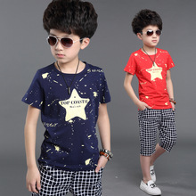 Buy Summer boys clothes sets cotton kids clothes 2pcs star print short sleeve t-shirt+pants,boys clothing suits 6-14 years for $10.02 in AliExpress store