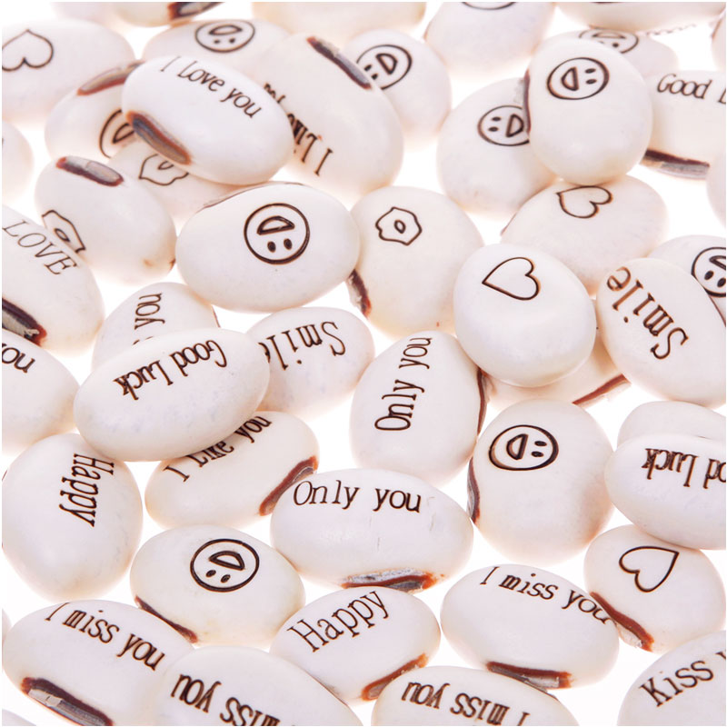 Garden Supplies Mini Magic 50pcs White Bean Seeds Gift Plant Growing Message Word Love Office Home #57674(China (Mainland))