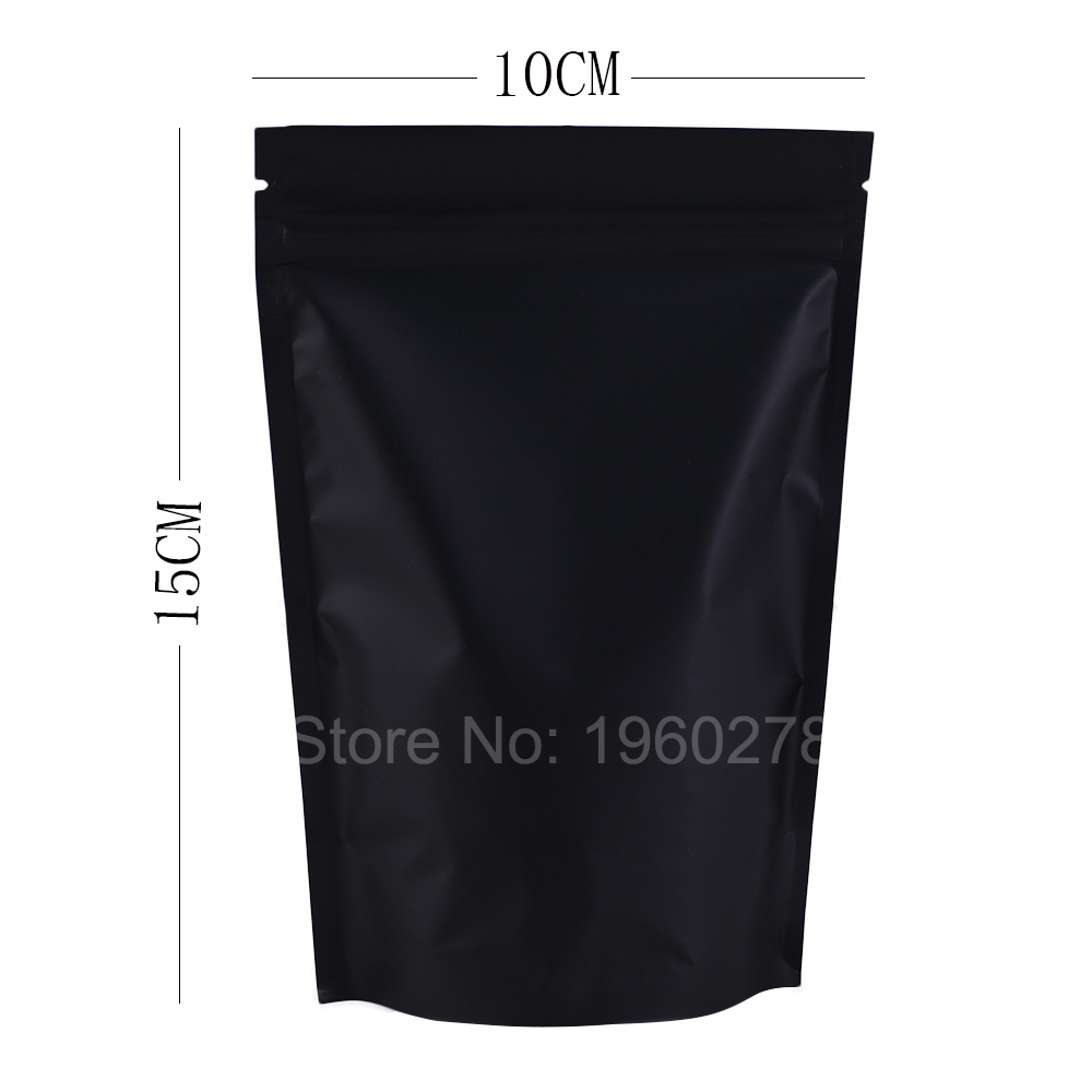 "high quality 10x15cm (3.9x5.9"") Metallic Mylar Resealable Plastic Pouch bags black stand up aluminium ziplock bag(China (Mainland))"