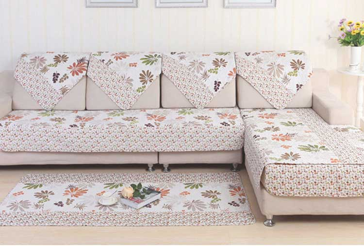 Hot sale polyester pastoral style sofa cover leaf pattern for Sectional slipcovers for sale