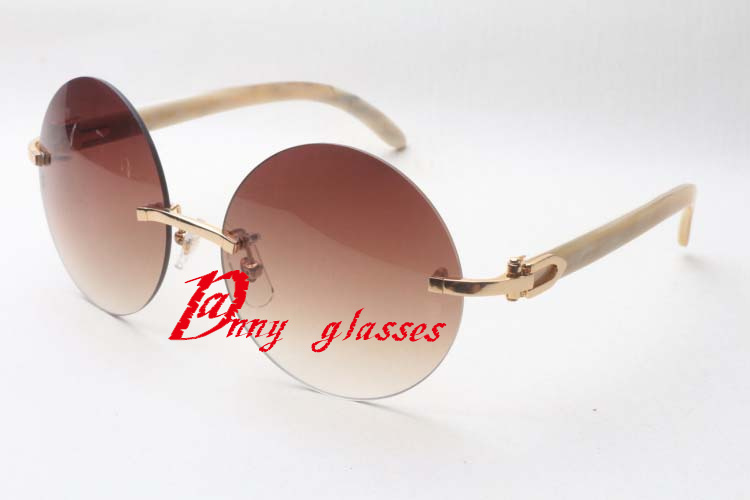 Selling luxury classic round sunglasses unisex high-quality real natural wild horn sunglasses 3524012 Size: 58-18-140mm