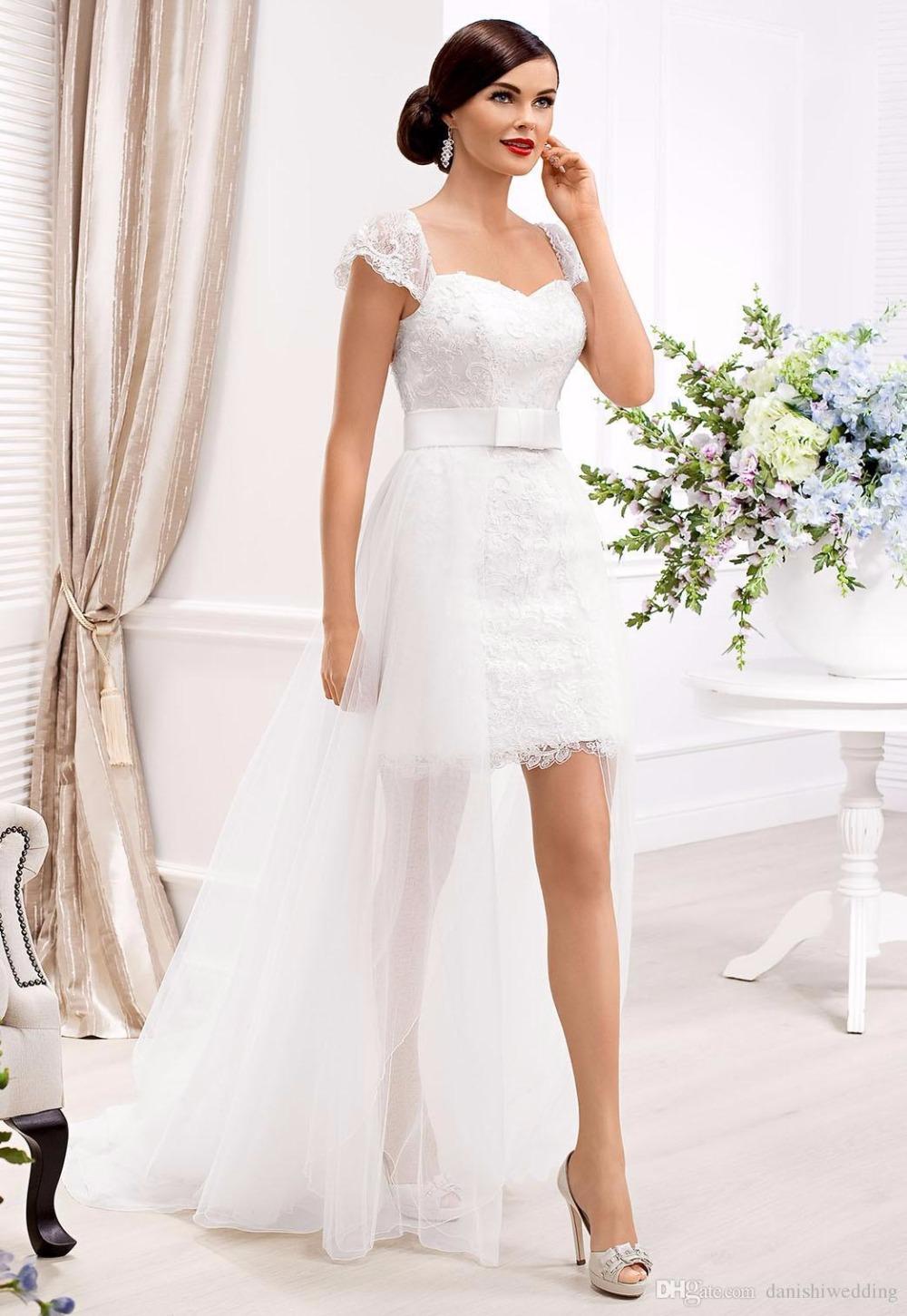 Popular Short Front Long Train Wedding Dresses with Sash-Buy Cheap ...