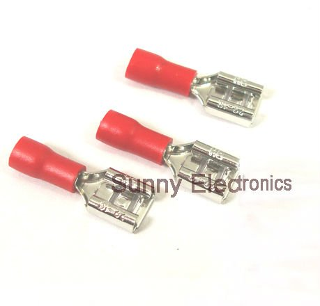 50 x 6.3mm Fully Insulated Red Female Spade Terminal Connector Crimp Radio Wire