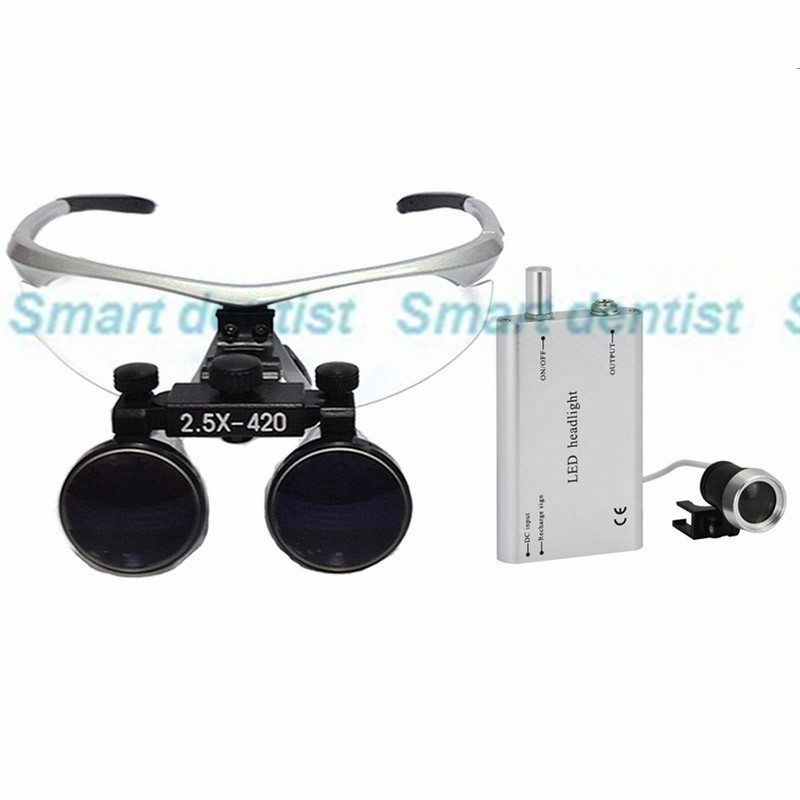 2016 fast shipment 2.5X magnifier with led light surgical operation dental loupe with aluminium box packed(China (Mainland))
