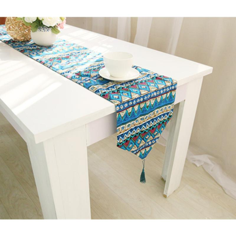 Mediterranean style Chemin De Table Cotton Linen Table Runner Two Colors For Choose Tablerunner(China (Mainland))