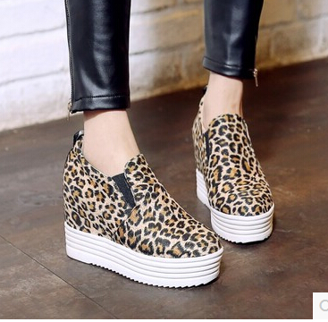 New Women's Fashion Leopard Spring shoes princess sexy british style leopard print Hidden Heels Casual Platform Plus Size 35-43(China (Mainland))