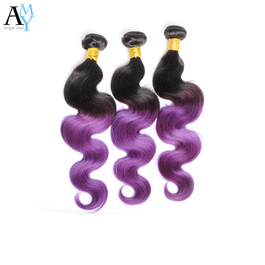 Ombre  Malaysian  Hair Body Wave 7A Body Wave Malaysian Virgin Hair 3 Pcs  Omber Hair Weaves 1B/Purple 10-26  <br><br>Aliexpress