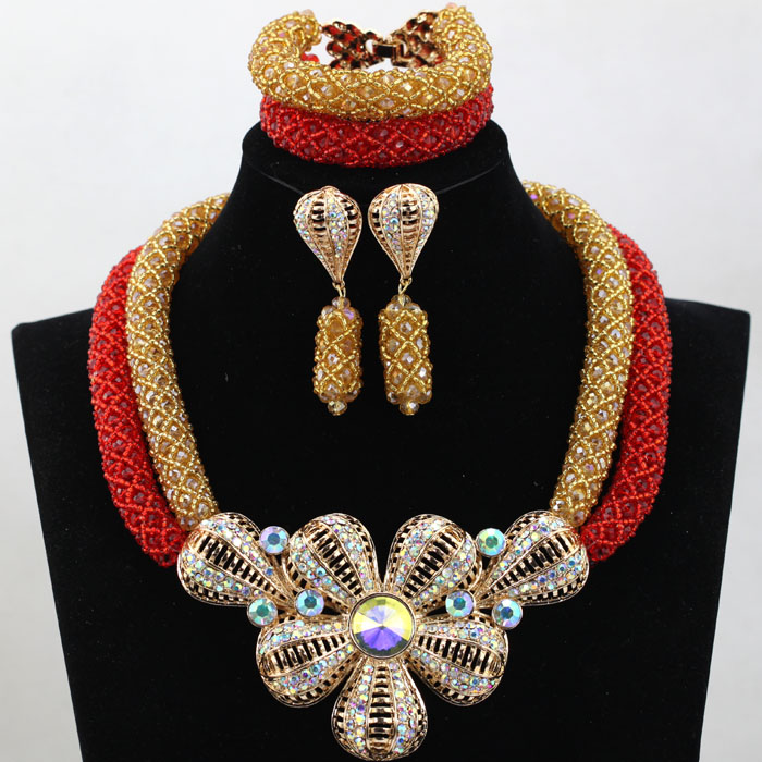 Latest Red/Gold Asoebi African Beads Fashion Jewelry Set for Brides Dubai Gold Plated Necklace Earrings Set Free Shipping WD042(China (Mainland))