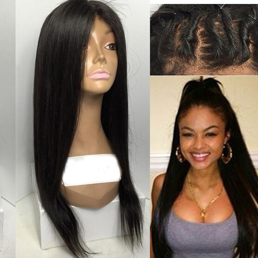2015 New 100%Peruvian Virgin Hair Lace Front Wig With Bangs&amp;Side Part Full Lace Human Hair Wig Natural Hairline For Black Women<br><br>Aliexpress