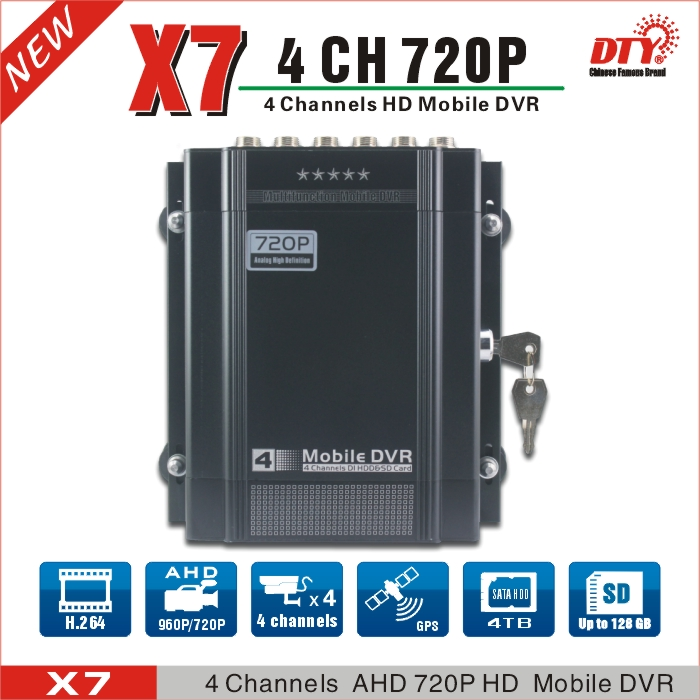 DTY X7G New arrival AHD MOBILE DVR china factory supply 4ch 720p ahd dvr support 4TB HDD and 128G(China (Mainland))