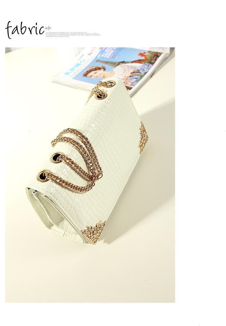 BUENO New 2014 Free Shipping Fashion Crocodile Shoulder Bag Chain
