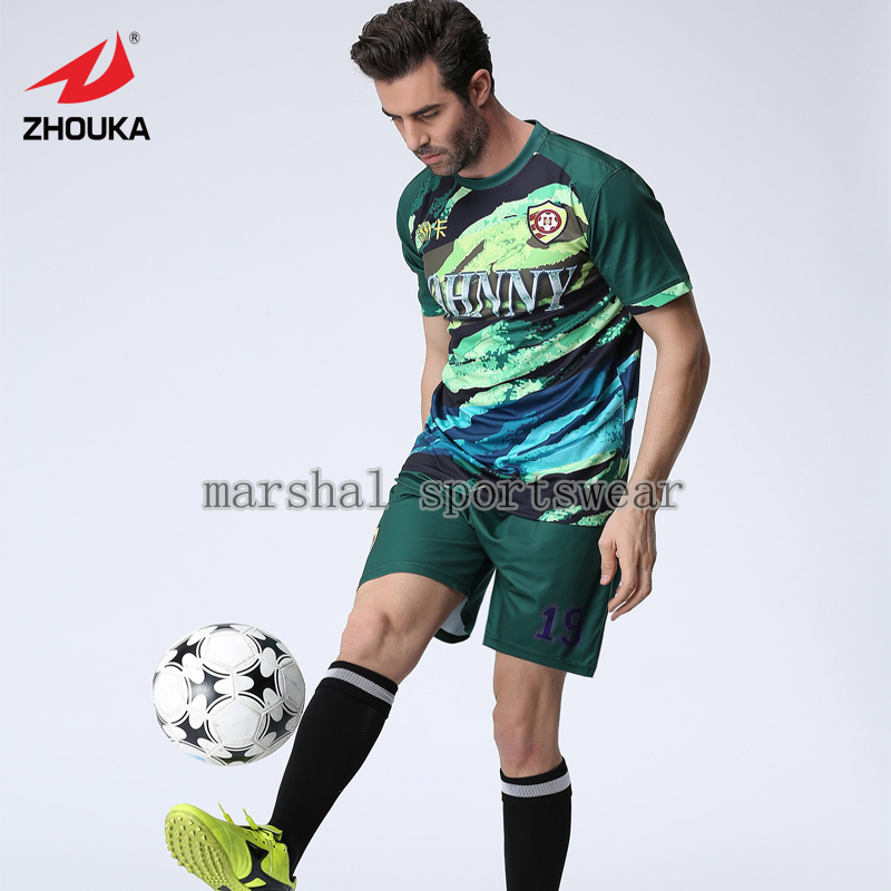 Free shipping,MOQ 5pcs,2016 Newest hot sale design,fully sublimation custom soccer jersey for men,dark green(China (Mainland))