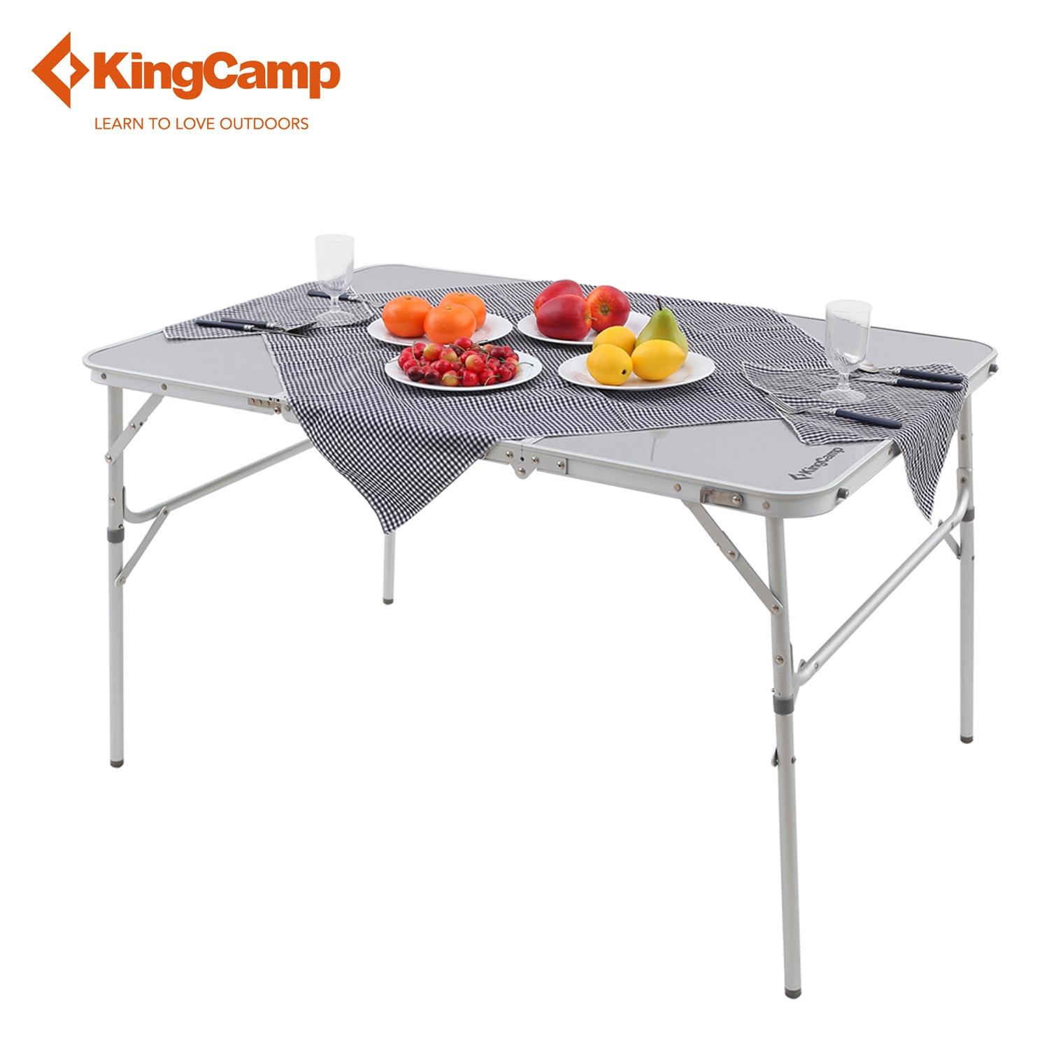 KingCamp Portable 3-folded Aluminum MDF Table for Travel Hiking Trekking Outdoor Folding Table for 4-6(China (Mainland))