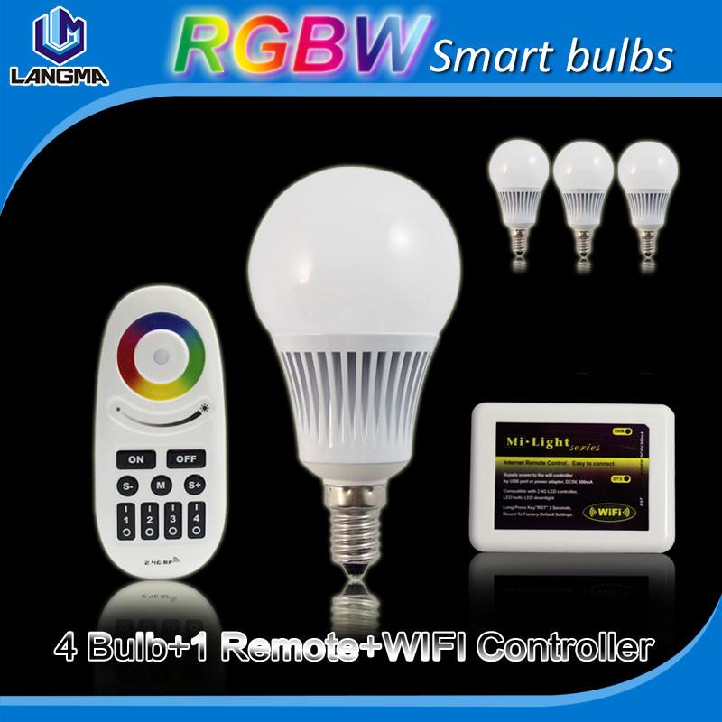 (Bulbs+Wifi+2.4G Remote)Wifi Mi Light Bulb 5W E14 RGBW Smart Bulb Light 2.4Ghz 4-zone Control, IOS Android App Control<br><br>Aliexpress
