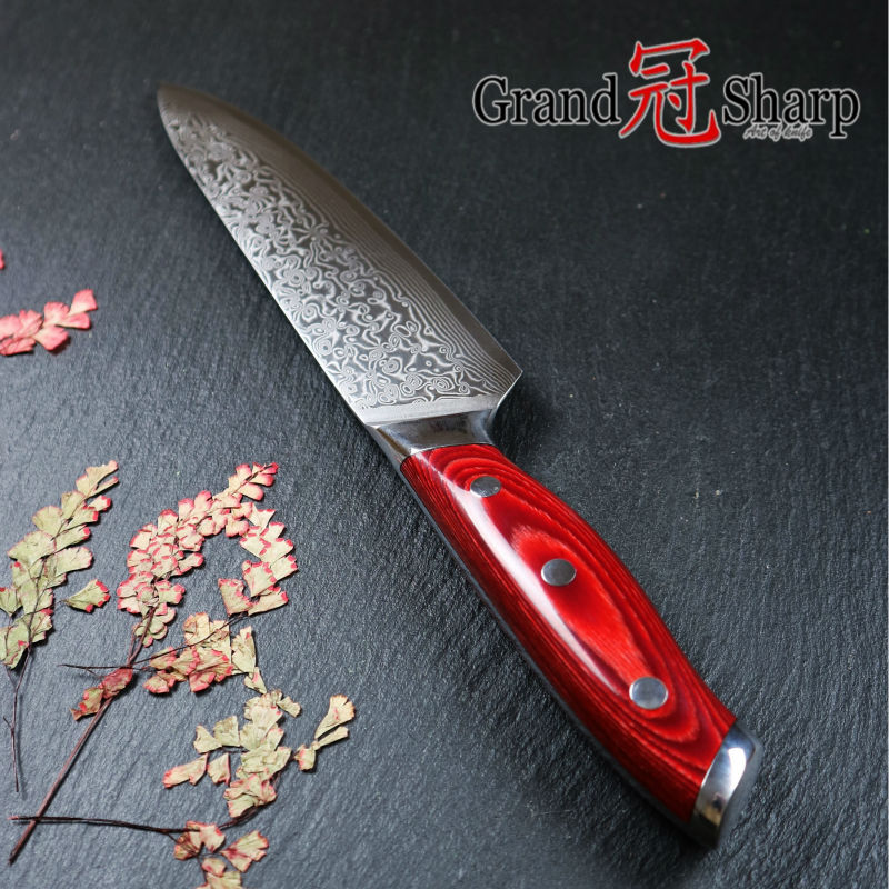 Buy GRANDSHARP 8 Inch Professional Chef Knife Japanese Damascus Stainless Steel VG-10 Core Christmas Gift Cooking Tools  NEW cheap