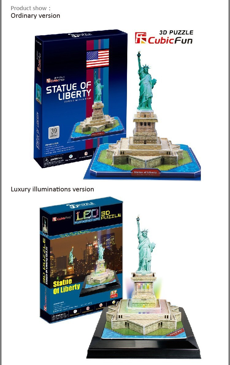 T0477 3D Puzzles US Statue of Liberty Constructing Paper Mannequin DIY Artistic reward Instructional toys Luxurious illuminations model