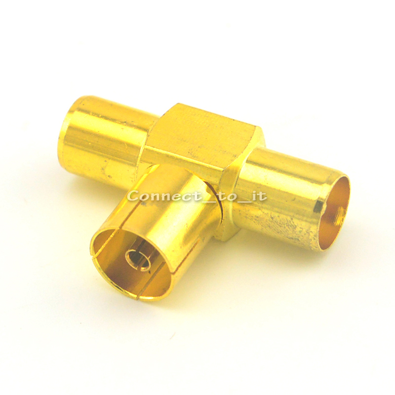 10 Pieces IEC TV PAL female to Two Double TV IEC PAL male Triple splitter 3 way goldplated T in Series RF Adapter Connector<br><br>Aliexpress