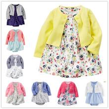 Smart Luxury Free Shipping A summer autumn female baby cotton long sleeved cardigan coat short sleeved skirt dress baby romper K